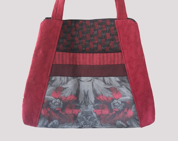 Peony Lightweight Tapestry Tote Bag in Red and Gray Floral Upholstery Fabric Large