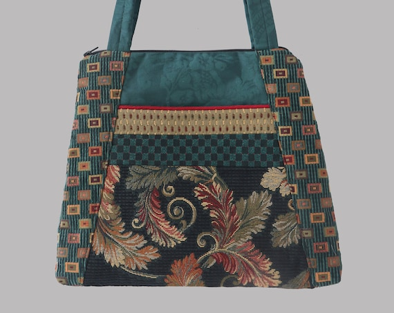 Teal Carnival Tapestry Tapestry Tote Bag in Teal and Beige Floral Jacquard Upholstery Fabric Large