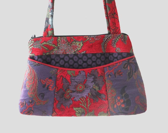 Poppy Medium Nancie Purse in Red and Purple Floral Jacquard Upholstery Fabric