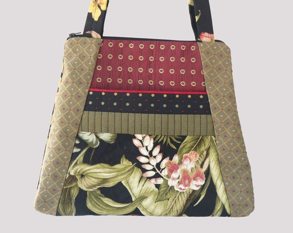 Orchid Lightweight Tapestry Tote Bag in Black and Red Floral Upholstery Fabric Large