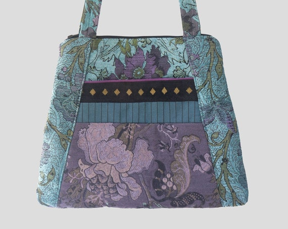 Lavender Tapestry Tote Bag in Purple and Aqua Floral Jacquard Upholstery Fabric Large