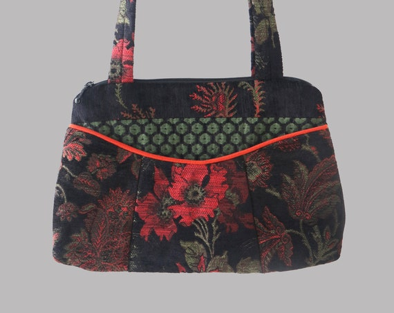 Nasturtium Medium Nancie Purse in Orange and Black Floral Jacquard Upholstery Fabric