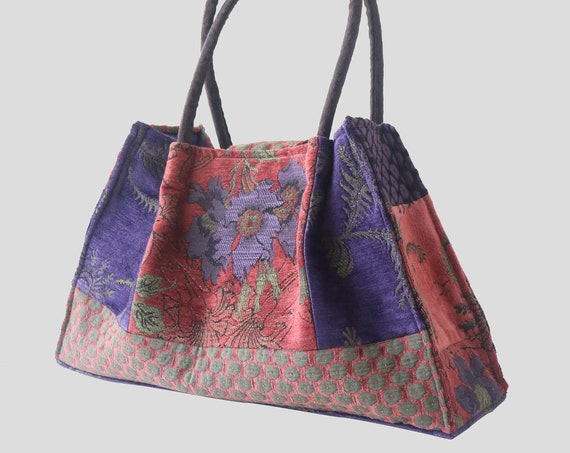 Rust Lavender Tapestry Shoulder Bag in Orange and purple Floral Jacquard Woven Fabrics