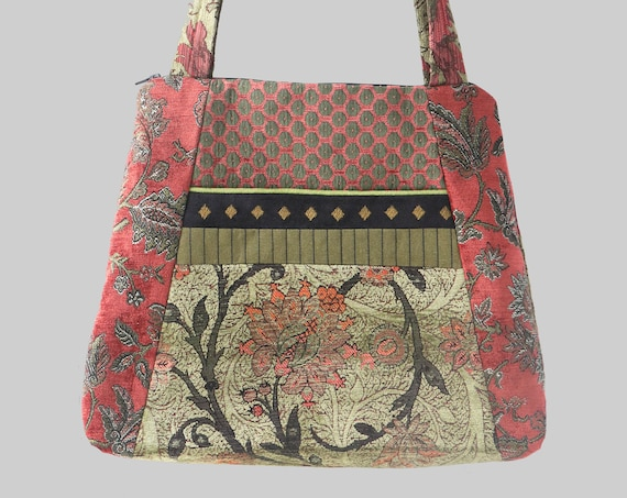 Melon Tapestry Tote Bag in Salmon and Sage Jacquard Upholstery Fabric Large