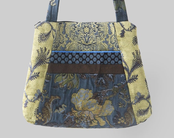 Midnight Tote Bag in Navy and Chartreuse Floral Jacquard Upholstery Fabric Large