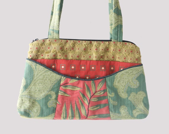 Frond Medium Nancie Purse in Coral and Green Floral Jacquard Upholstery Fabric