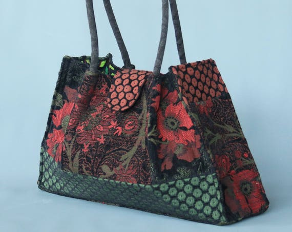 Nasturtium Tapestry Shoulder Bag in Orange and Green Floral Jacquard Woven Fabrics
