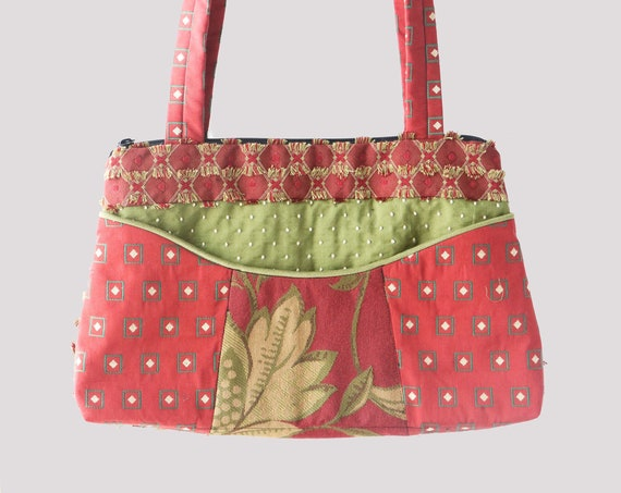 Coral Medium Nancie Purse in Salmon and Avocado Floral Jacquard Upholstery Fabric