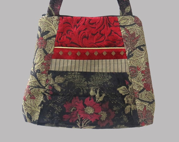 Madeira Tapestry Tote Bag in Red, Black, and Sage Floral Jacquard Upholstery Fabric Large