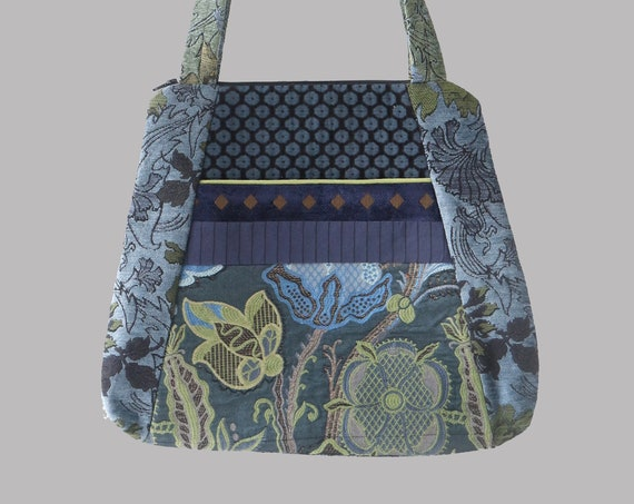 Tapestry Tote Bag in Blue and Green Floral Upholstery Fabric Large- One of a Kind!