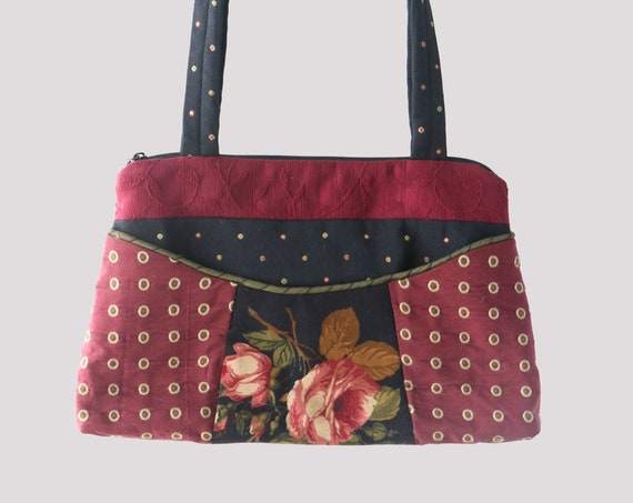 Rose Medium Nancie Purse in Burgundy and Black Floral Jacquard Upholstery Fabric
