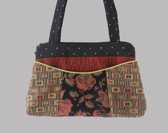 Carnival Nancie Purse in Beige and Black Floral Jacquard Upholstery Fabric