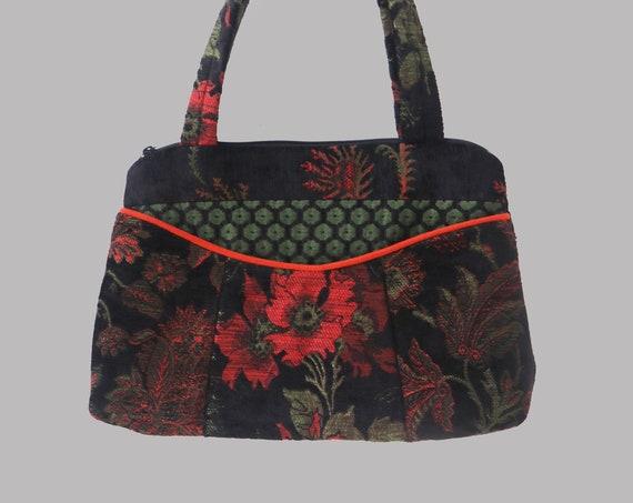 Nasturtium Medium Nancie Purse in Orange and Black Floral Jacquard Upholstery Fabric