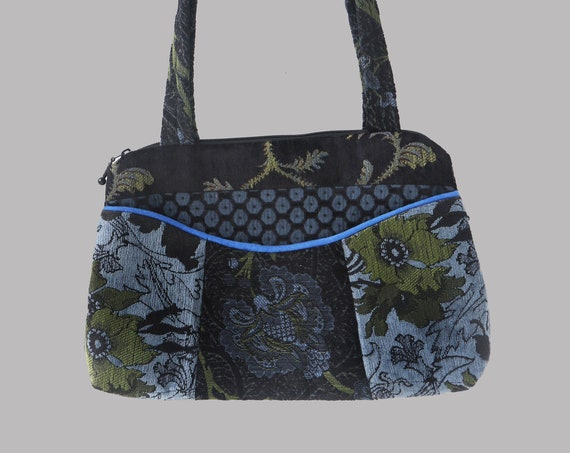 Blueberry Medium Nancie Purse in Black and Blue Floral Jacquard Upholstery Fabric