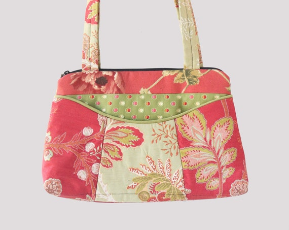 Tropical Medium Nancie Purse in Coral and Mint Floral Jacquard Upholstery Fabric