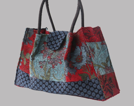 Red Wine Tapestry Shoulder Bag in Red and Teal Floral Jacquard Woven Fabrics