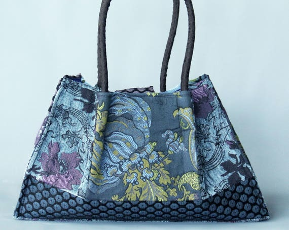 Mineral Tapestry Shoulder Bag in Blue and Purple Floral Jacquard Woven Fabrics