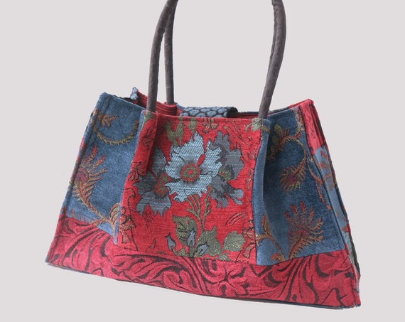 Royal Tapestry Shoulder Bag in Red and Blue Floral Jacquard Woven Fabrics