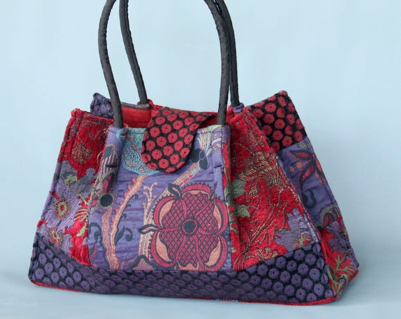 Poppy Tapestry Shoulder Bag in Red, Green and Purple Floral Jacquard Woven Fabrics
