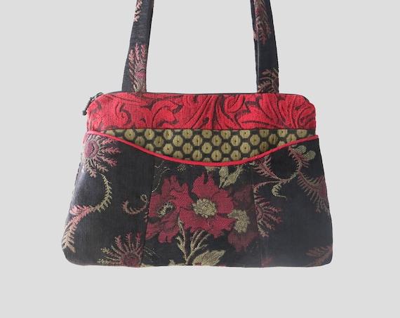 Madeira Medium Nancie Purse in Orange and Black Floral Jacquard Upholstery Fabric