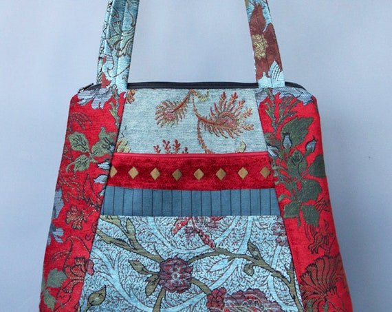 Red Wine Tapestry Tote Bag in Aqua and Red Floral Upholstery Fabric Large
