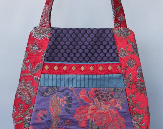 Carmen Tapestry Tote Bag in Red and Purple Floral Upholstery Fabric Large