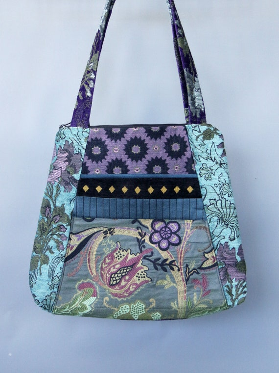 Seamist Tapestry Tote Bag in Purple and Aqua Floral Jacquard Upholstery Fabric Large