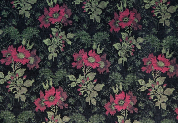 Madeira Poppy Jacquard Woven Floral Upholstery Fabric