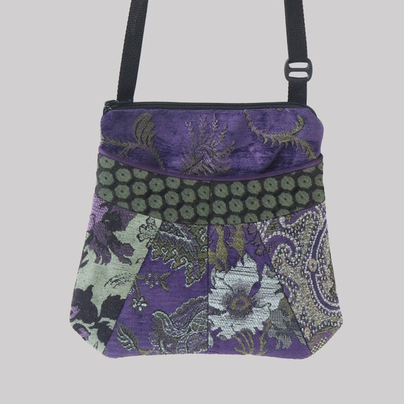 Medium Tapestry Adjustable Alyssa Purse in Sage and Hyacinth- One of a Kind!