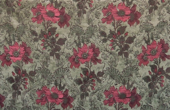 Aloe Poppy Jacquard Woven Floral Upholstery Fabric