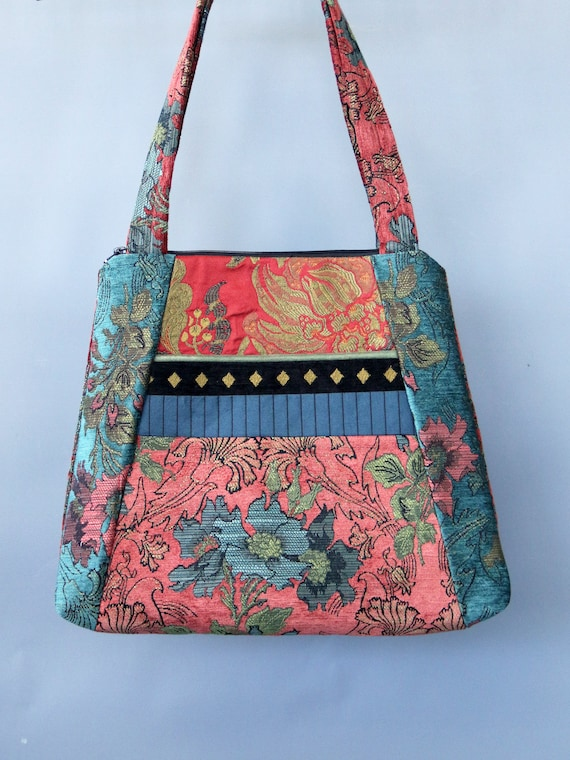 Zinnia Tapestry Tote Bag in Salmon and Teal Floral Upholstery Fabric Large