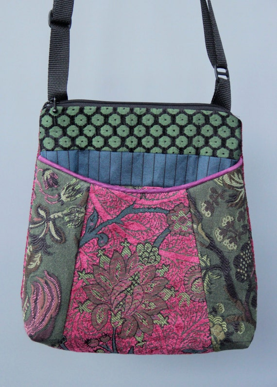 Raspberry Tapestry Adjustable Bag in Pink and Green Floral Jacquard Upholstery Fabric Large