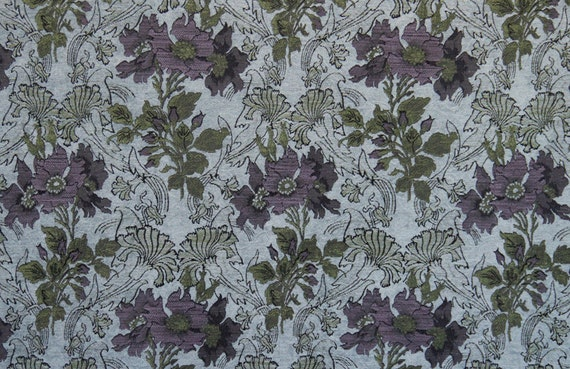 Silver Poppy Jacquard Woven Floral Upholstery Fabric