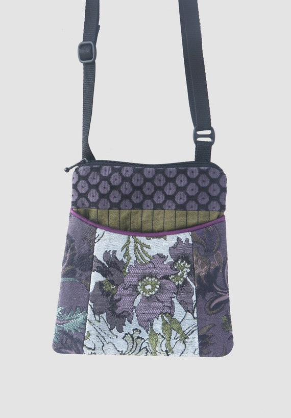 Silver Tapestry Adjustable Purse with Lavender and Green Floral Jacquard Upholstery Fabric