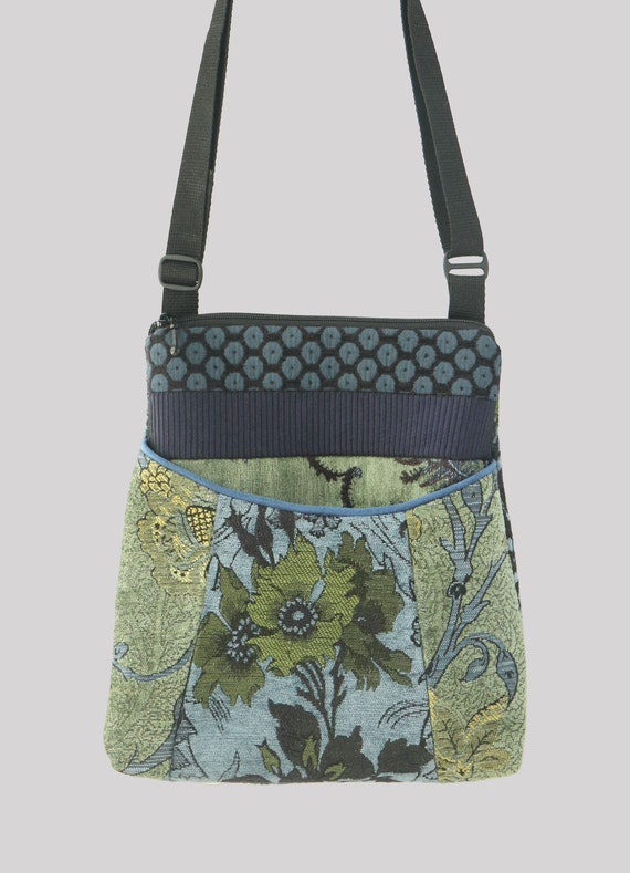 Dusk Tapestry Adjustable Bag in Green and BlueFloral Jacquard Upholstery Fabric Medium