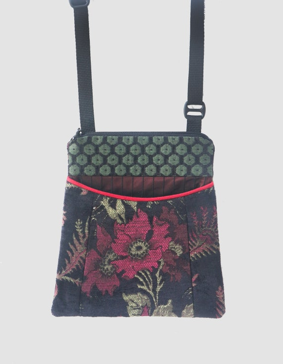 Madeira Tapestry Adjustable Purse in Red and Black Jacquard Upholstery Fabric