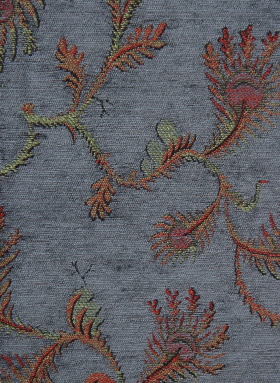 Slate Fern Jacquard Woven Floral Upholstery Fabric
