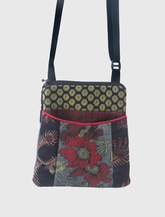 Charcoal Tapestry Adjustable Purse in Gray, Red and Black Jacquard Upholstery Fabric