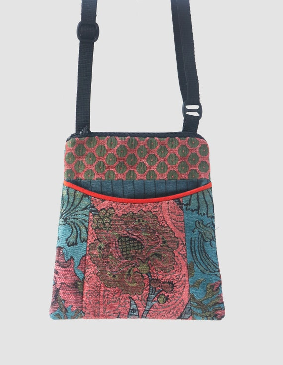 Zinnia Adjustable Purse in Orange and Teal Floral Jacquard Upholstery Fabric
