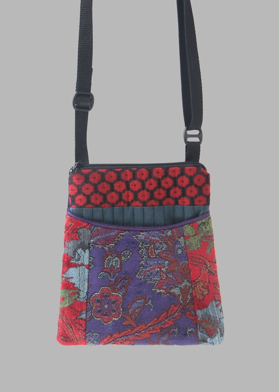 Adjustable Purse in Red and Hyacinth Floral Jacquard Upholstery Fabric- One of a Kind!