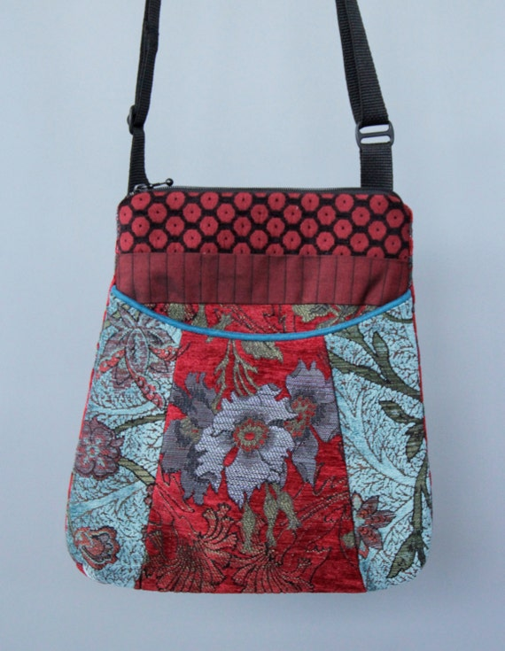 Red Wine Tapestry Adjustable Bag in Red and Aqua Floral Jacquard Upholstery Fabric Large