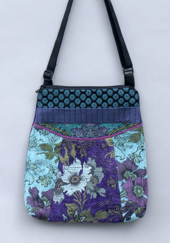 Seamist Tapestry Adjustable Bag in Purple and Aqua Floral Jacquard Upholstery Fabric Large