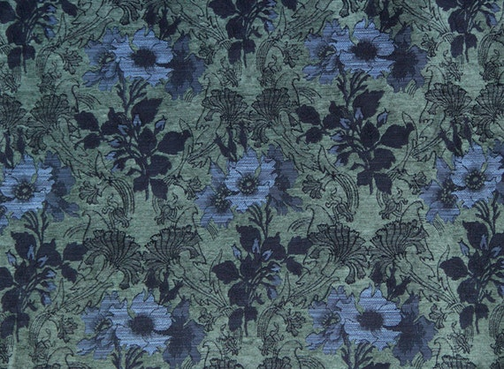 Larkspur Poppy Jacquard Woven Floral Upholstery Fabric