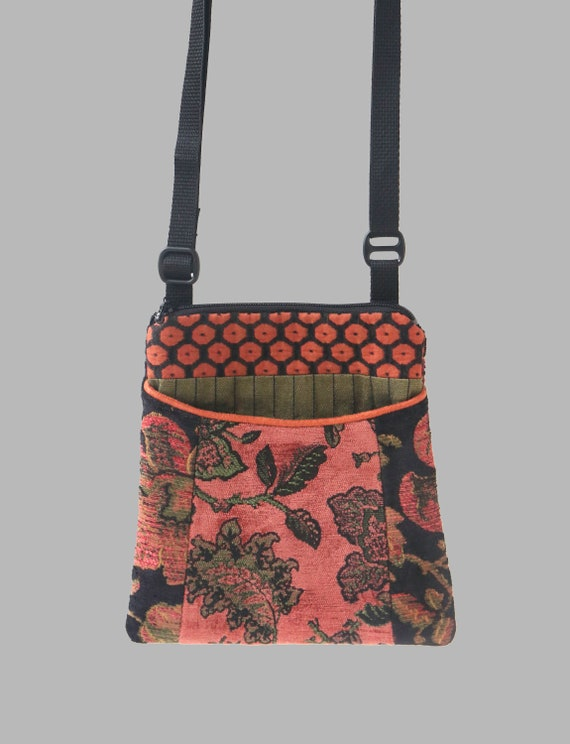 Adjustable Purse in Rust and Sage Floral Jacquard Upholstery Fabric- One of a Kind!