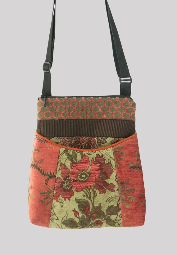 Melon Tapestry Adjustable Bag in Salmon and Sage Floral Upholstery Fabric
