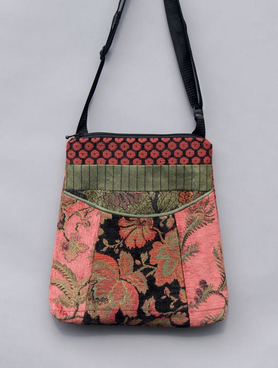 Rustic Tapestry Adjustable Bag in Orange and Sage Floral Upholstery Fabric