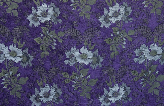 Hyacinth Poppy Jacquard Woven Floral Upholstery Fabric