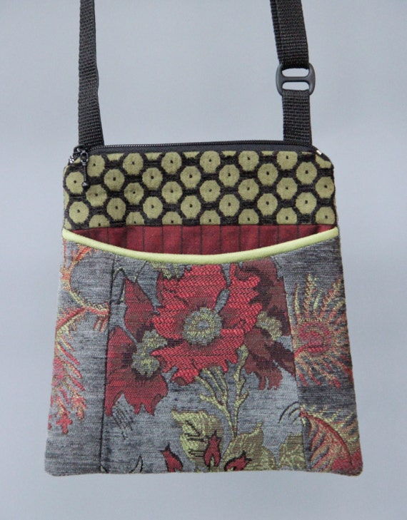 Slate Adjustable Purse in Red and Gray Floral Jacquard Upholstery Fabric