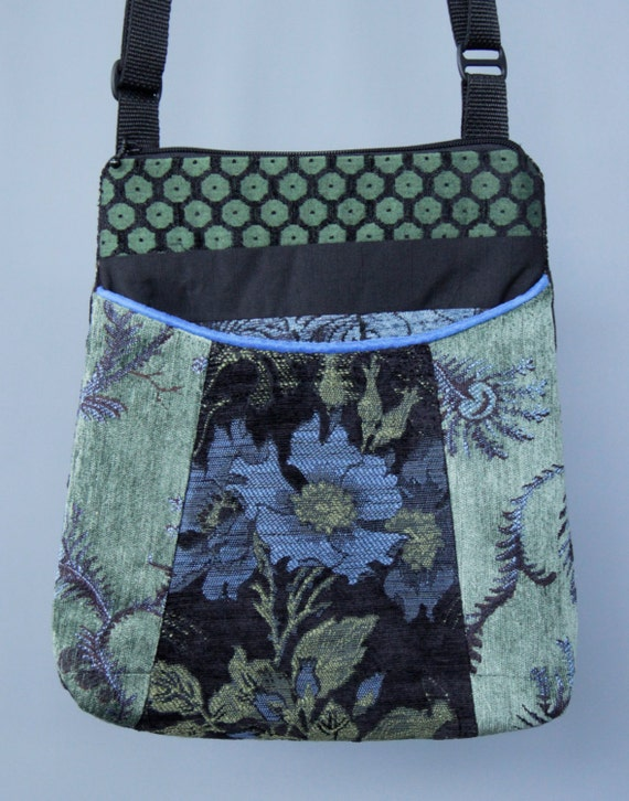 Blueberry Tapestry Adjustable Bag in Blue and Green Floral Jacquard Upholstery Fabric Large