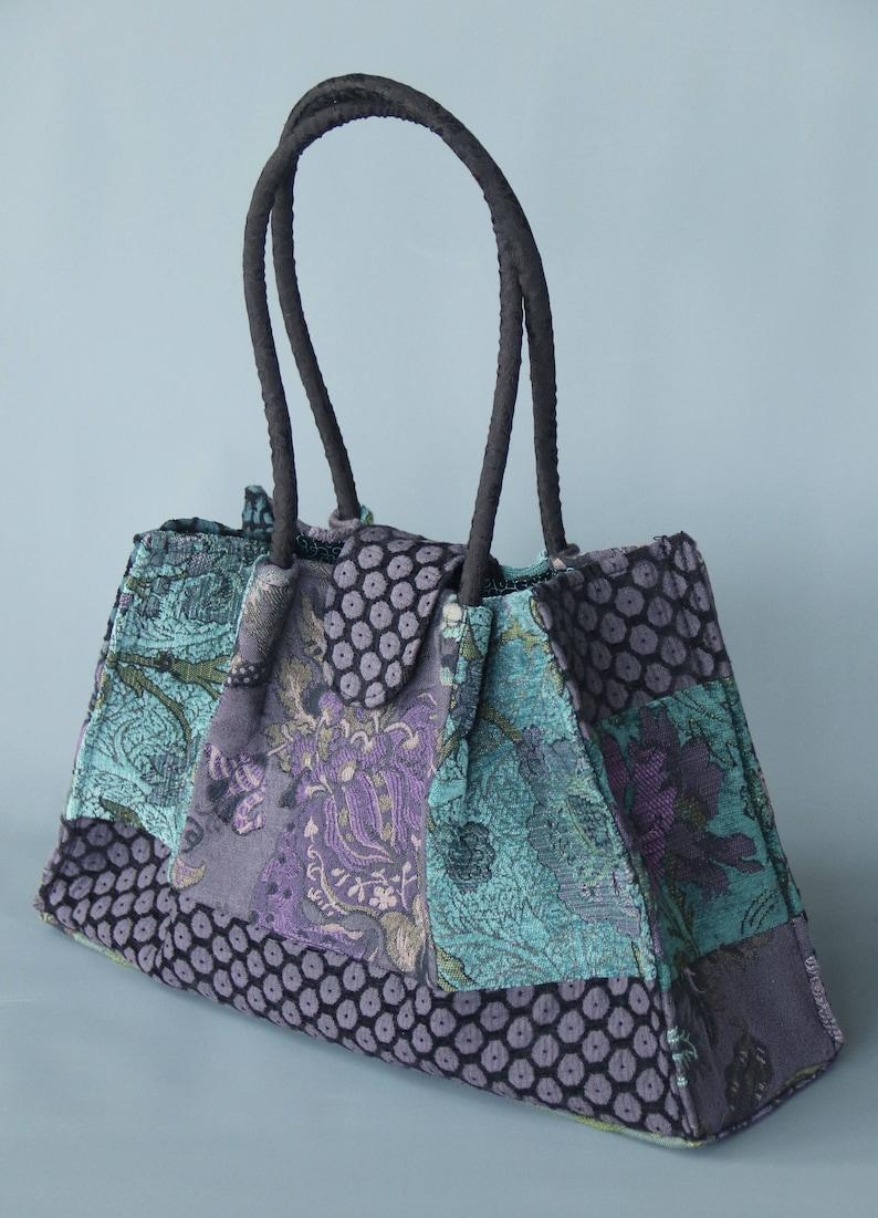 Seamist Tapestry Shoulder Bag in Aqua Green and Purple Floral image 0